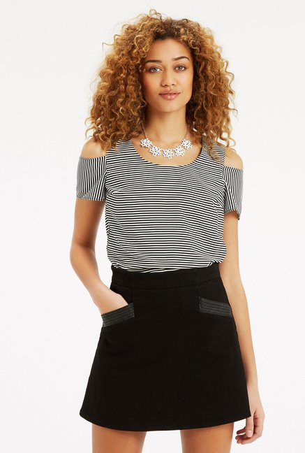 Oasis Black & White Striped Cut Out Top