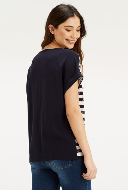 Oasis Navy & Off White Striped Top