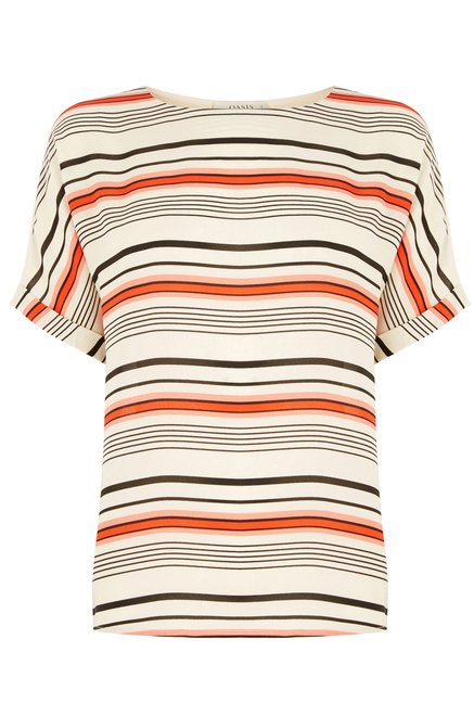 Oasis Off White Striped Top