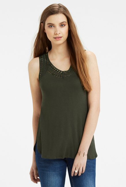 Oasis Olive Embroidered Top