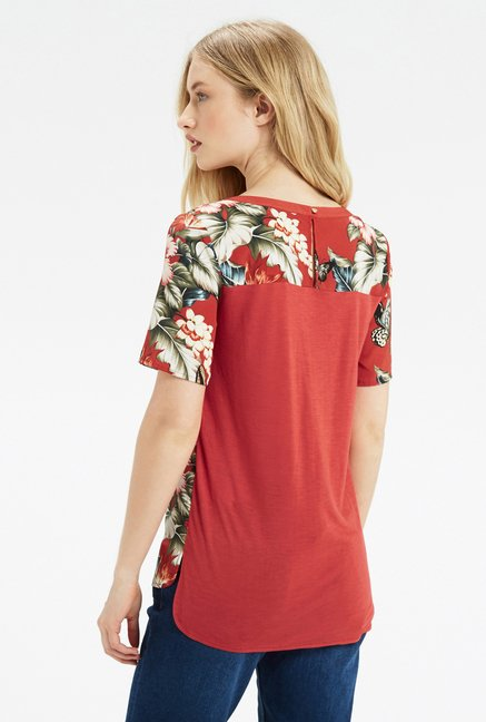 Oasis Brick Red Floral Print Top