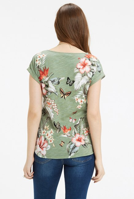 Oasis Green Floral Print Top