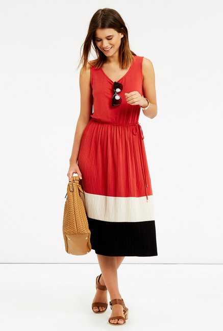 Oasis Red Pleated Midi Dress