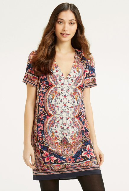 Oasis Multicolor Paisley Print Shift Dress