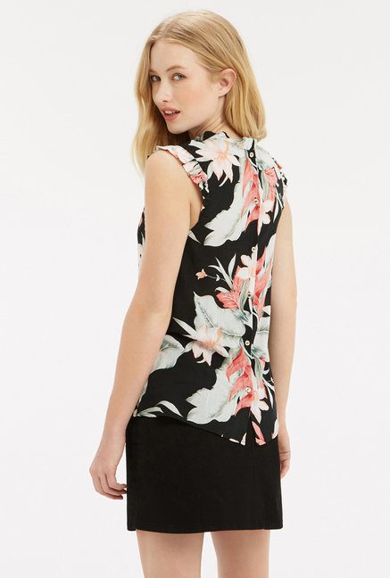 Oasis Black Floral Printed Top