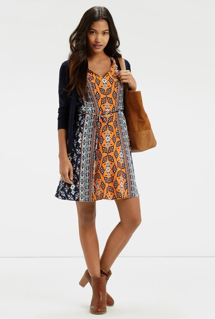 Oasis Ochre & Navy Dress