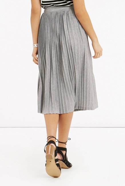Oasis Pale Grey Pleated Midi Skirt