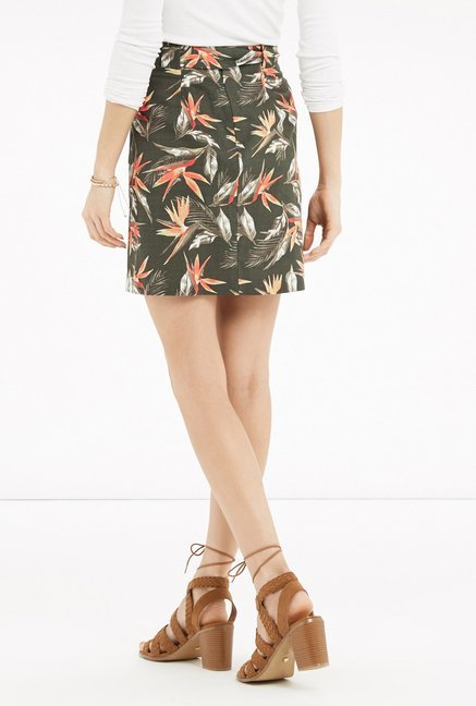 Oasis Green Floral Print A Line Skirt
