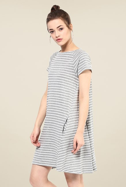 Femella Grey & White Striped Shift Dress