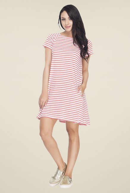 Femella Pink & White Striped Shift Dress