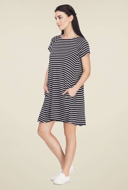 Femella Black & White Striped Shift Dress