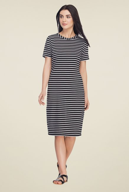 Femella Black Striped Shift Dress