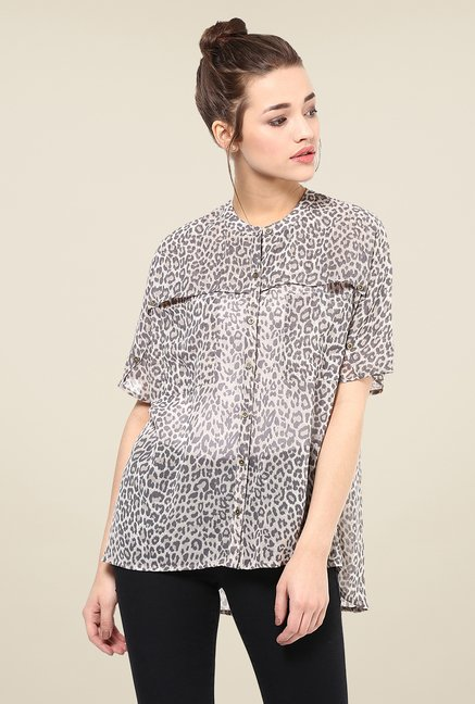 Femella Brown Animal Print Shirt