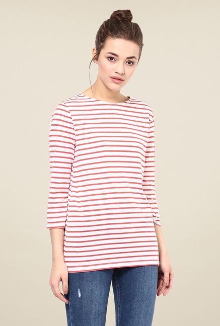 Femella Coral Striped Top