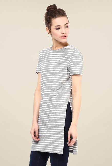 Femella Grey Striped Side Slit Top