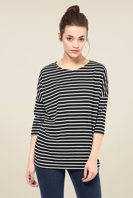 Femella Black Oversized Striped Tee
