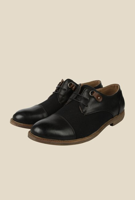 Spunk Ertiga Black Derby Formal Shoes