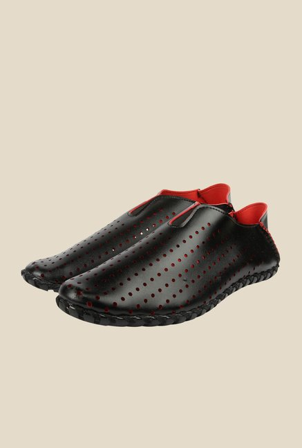 Spunk Carol Black & Red Loafers