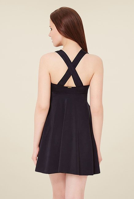 Amante Black Solid Swim Dress