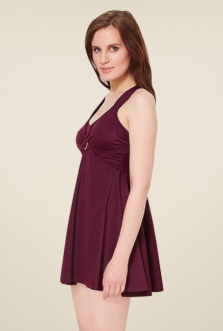Amante Purple Solid Swim Dress