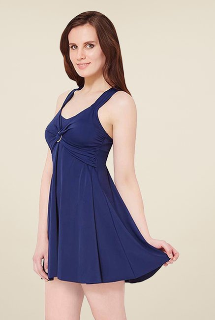 Amante Navy Solid Swim Dress