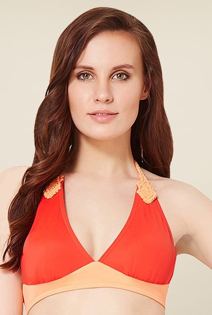 Amante Orange Padded Halter Bikini Top Swimwear