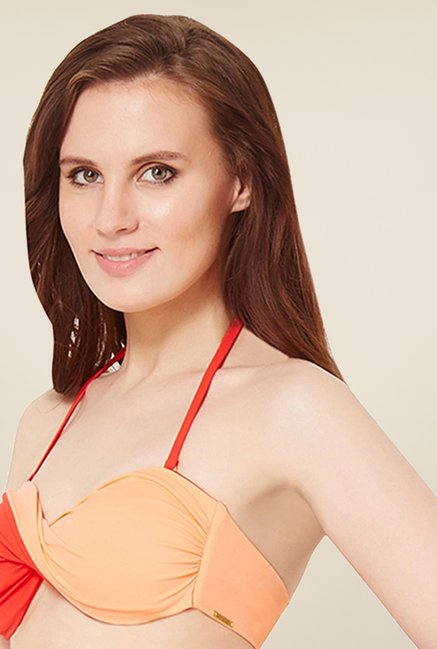 Amante Orange Twisted Bandeau Swimwear Bra