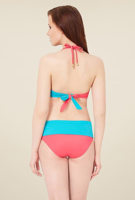 Amante Turquoise & Coral Ruched Waist Bottom Swimwear