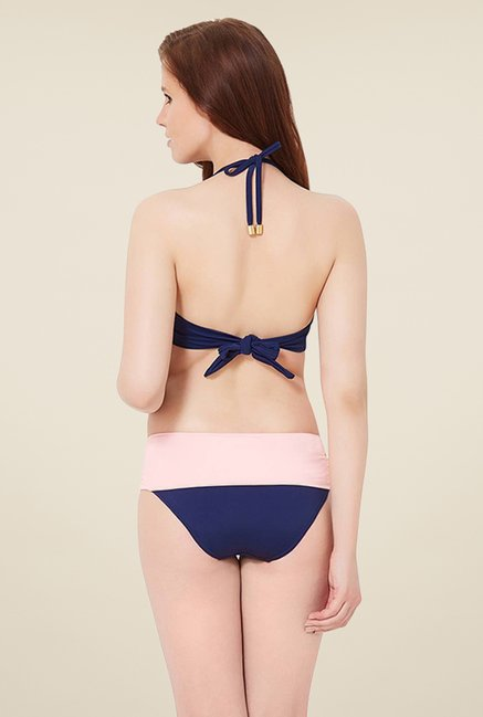 Amante Navy & Pink Ruched Waist Bottom Swimwear