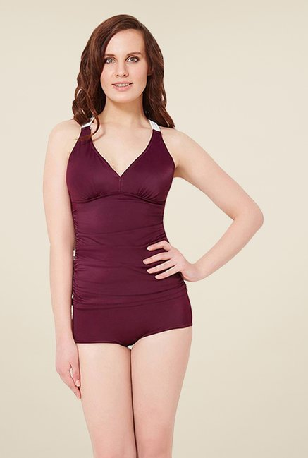 Amante Purple Solid Swimwear Boyshort