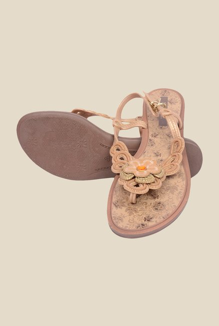 Grendha Gold & Brown Flat Sandals