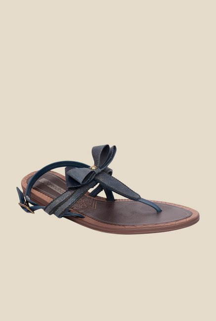 Grendha Navy & Brown Flat Sandals