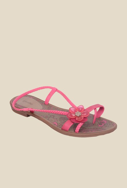 Grendha Pink & Brown Back Strap Sandals