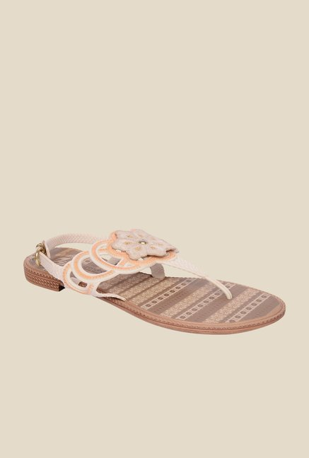Grendha Beige & Brown Flat Sandals