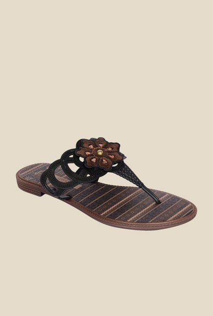 Grendha Black & Brown Thong Sandals