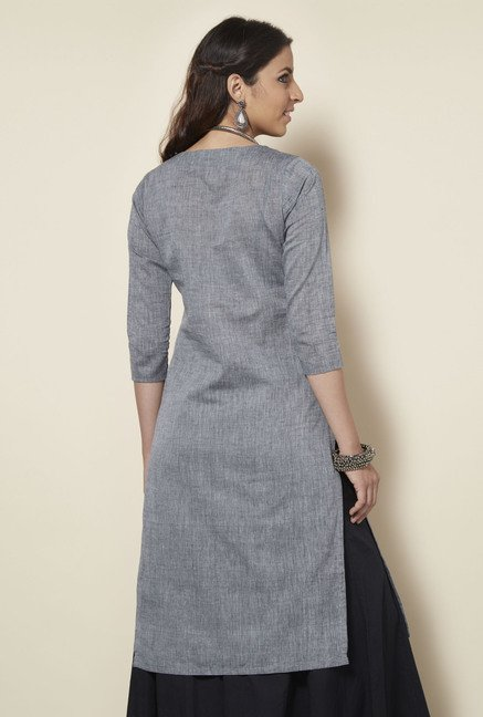 Okhai Grey Cotton Kurta