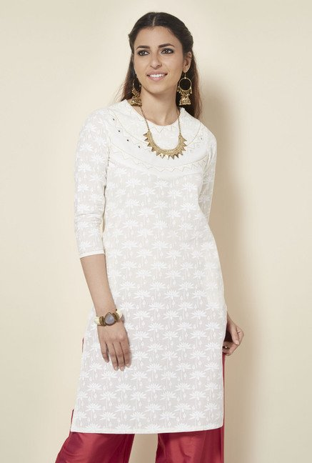 Okhai Off White Printed Kurta