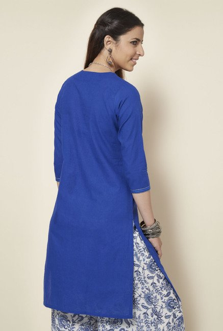 Okhai Royal Blue Embroidered Kurta