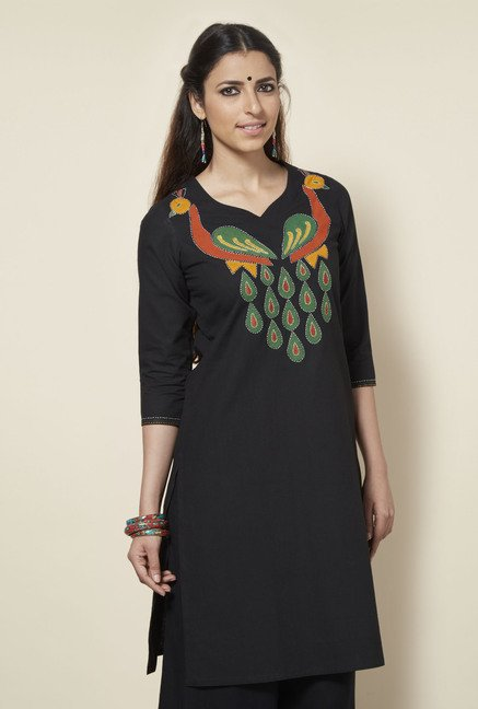 Okhai Black Cotton Kurta