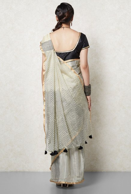 Okhai Yellow & Black Kota Silk Saree