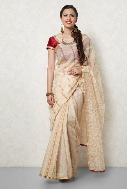 Okhai Beige & Brown Kota Silk Saree