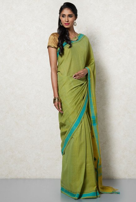 Okhai Green & Blue Cotton Saree