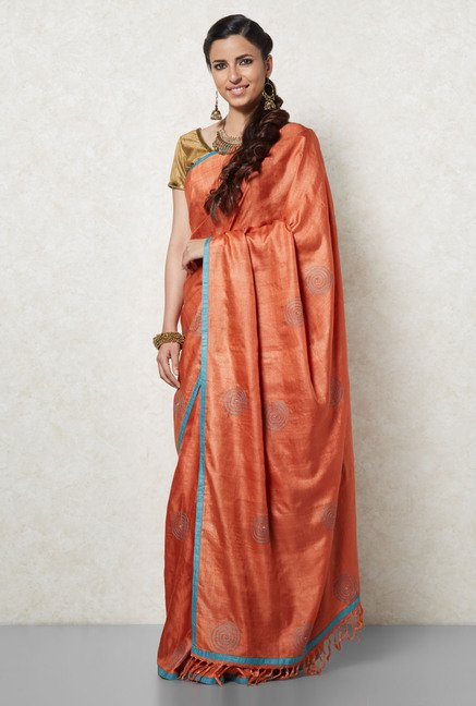 Okhai Rust Cotton Silk Saree