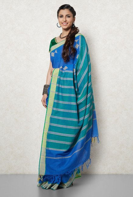 Okhai Blue Cotton Saree