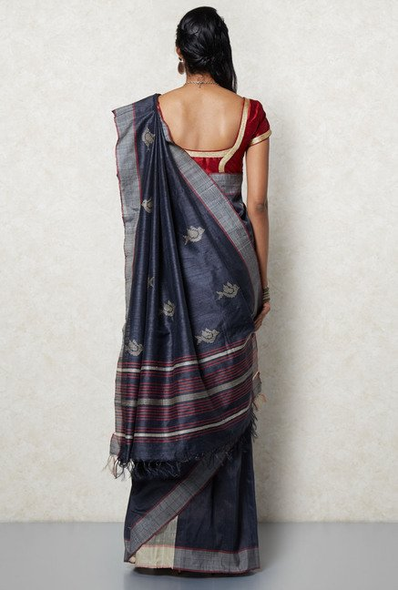 Okhai Dark Grey Tussar Silk Saree