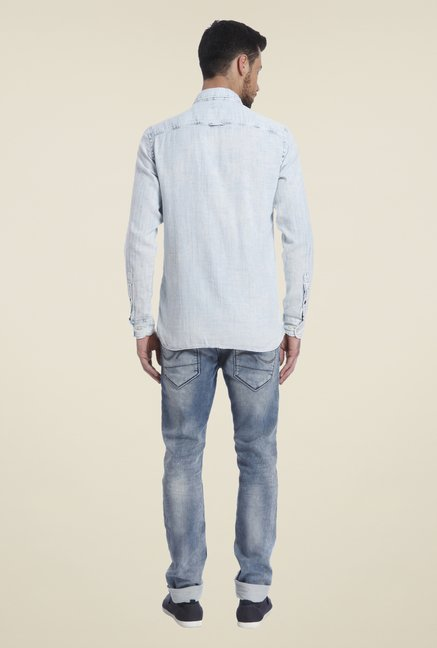 Jack & Jones Sky Blue Solid Shirt