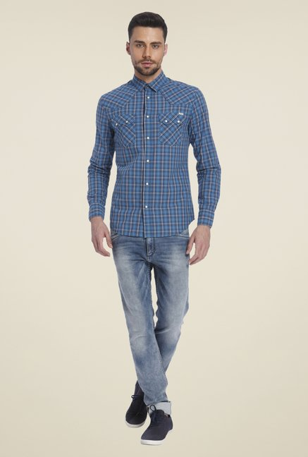 Jack & Jones Blue Checked Shirt