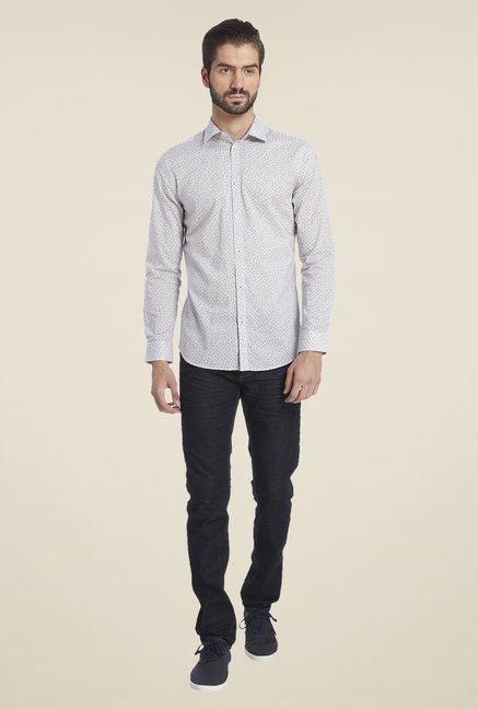 Jack & Jones Off White Printed Cotton Shirt