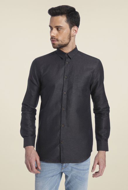 Jack & Jones Black Solid Linen Shirt