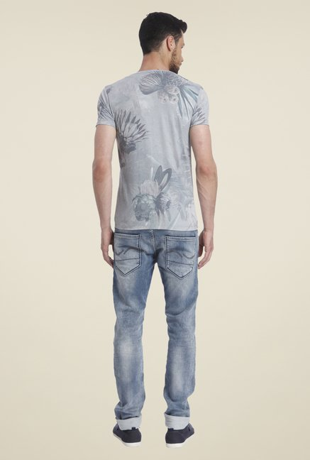 Jack & Jones Grey Cotton Printed T Shirt